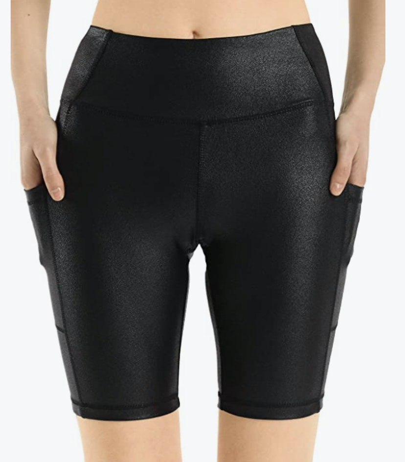 Black Faux Leather Biker Shorts with pockets