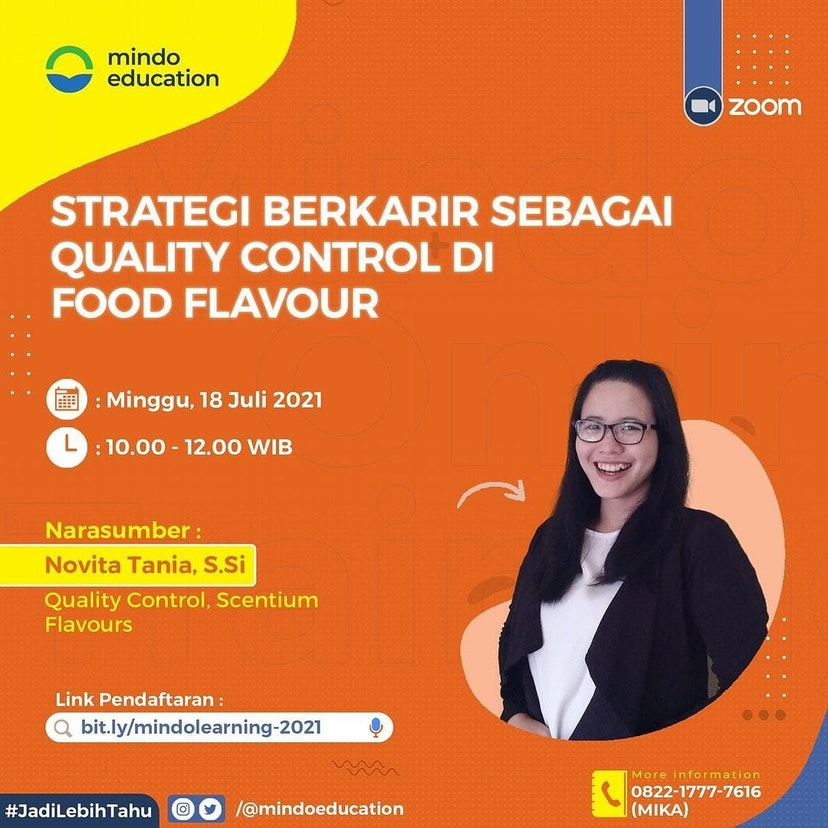 18 July 2021 Mindo Learning - Career Strategy as QC in Flavour Company