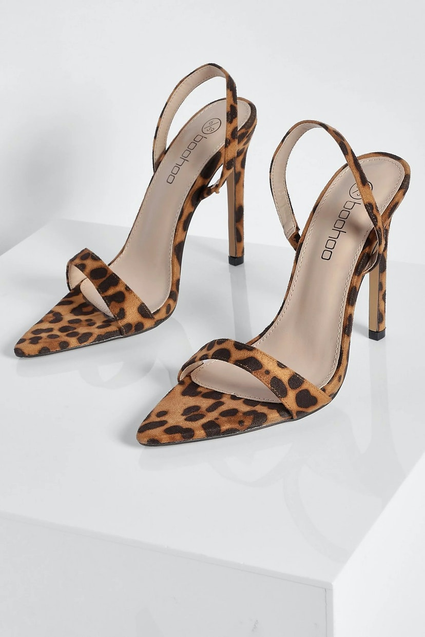 Leopard Pointed Toe Slingback Shoes